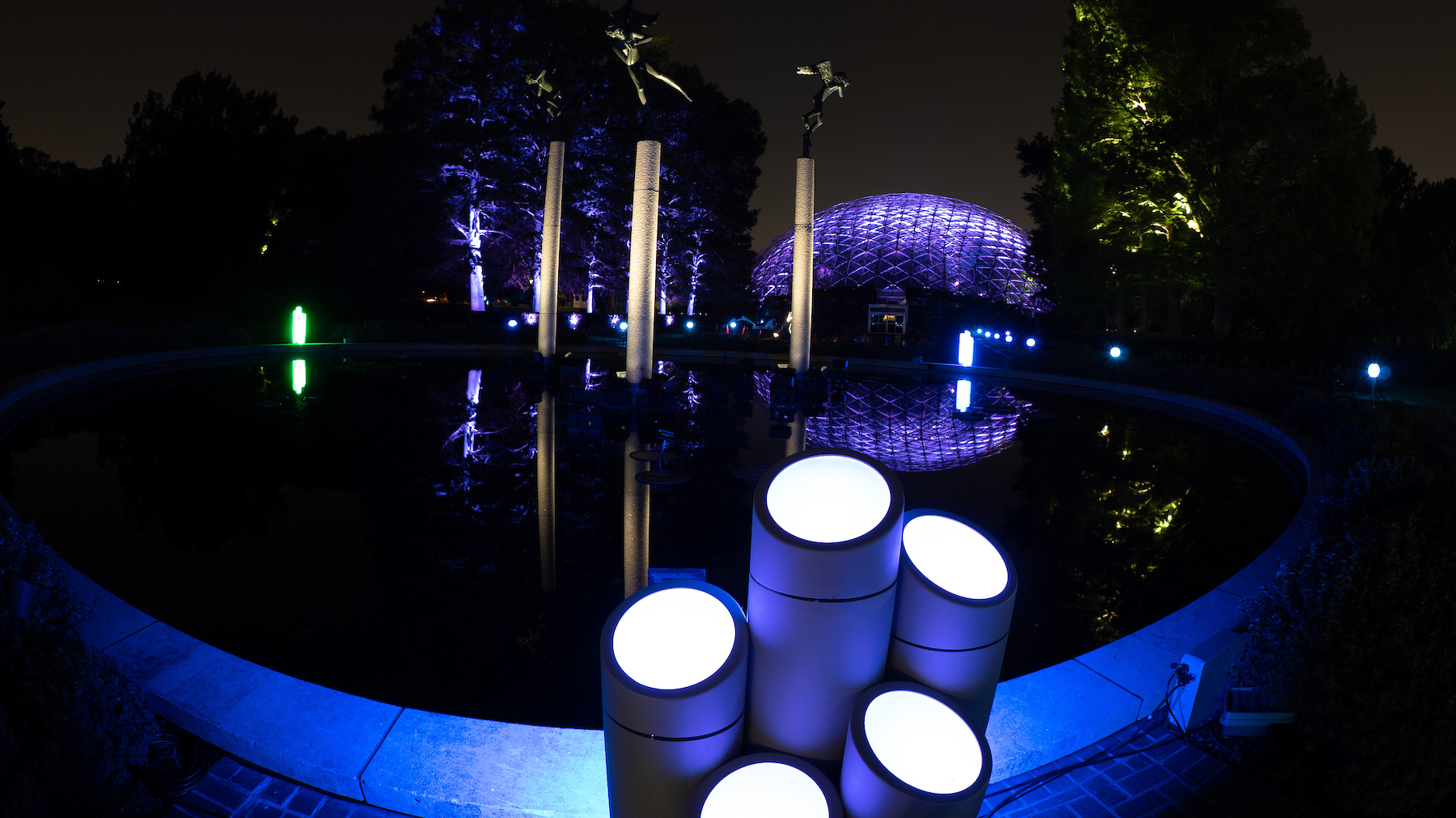 Flora Borealis is a light projection installation at Missouri Botanical Garden. | AVI Systems