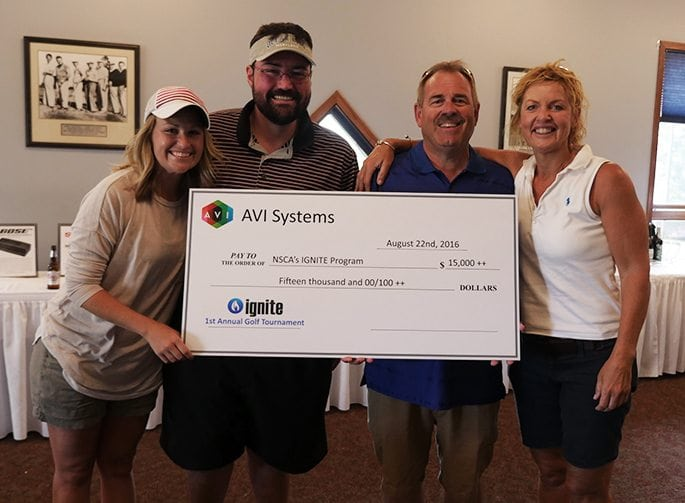 AVI Systems and 18 manufacturers raised over $20,000 for the NSCA's IGNITE program.