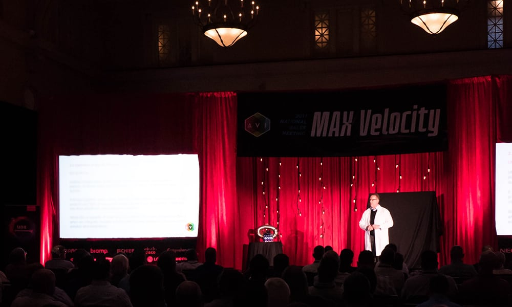 CTO Brad Sousa addressed the audience in the Great Hall, covering the developing Unified Collaboration practice at AVI Systems.