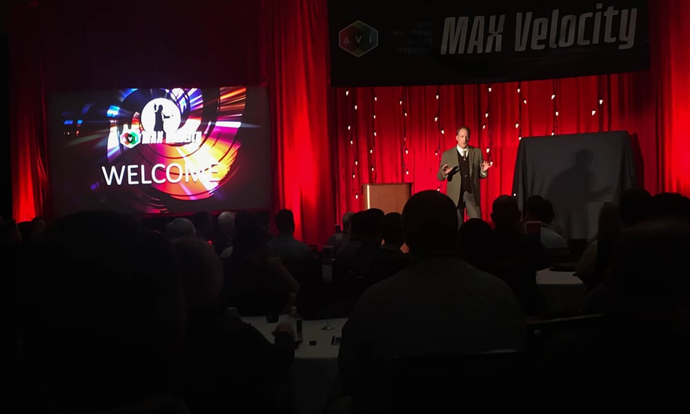 AVI Systems President and CEO Jeff Stoebner followed Don Mastro, VP of Sales, in opening the 2017 National Sales Meeting at the Renaissance Minneapolis Hotel, The Depot.